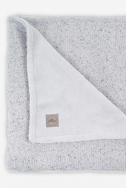 плед для новорожденных вязаный с мехом Jollein Confetti серый