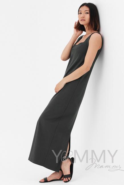 Платье для беременных и кормящих длинное с разрезом, цвет хаки ... 1df2b03dd73