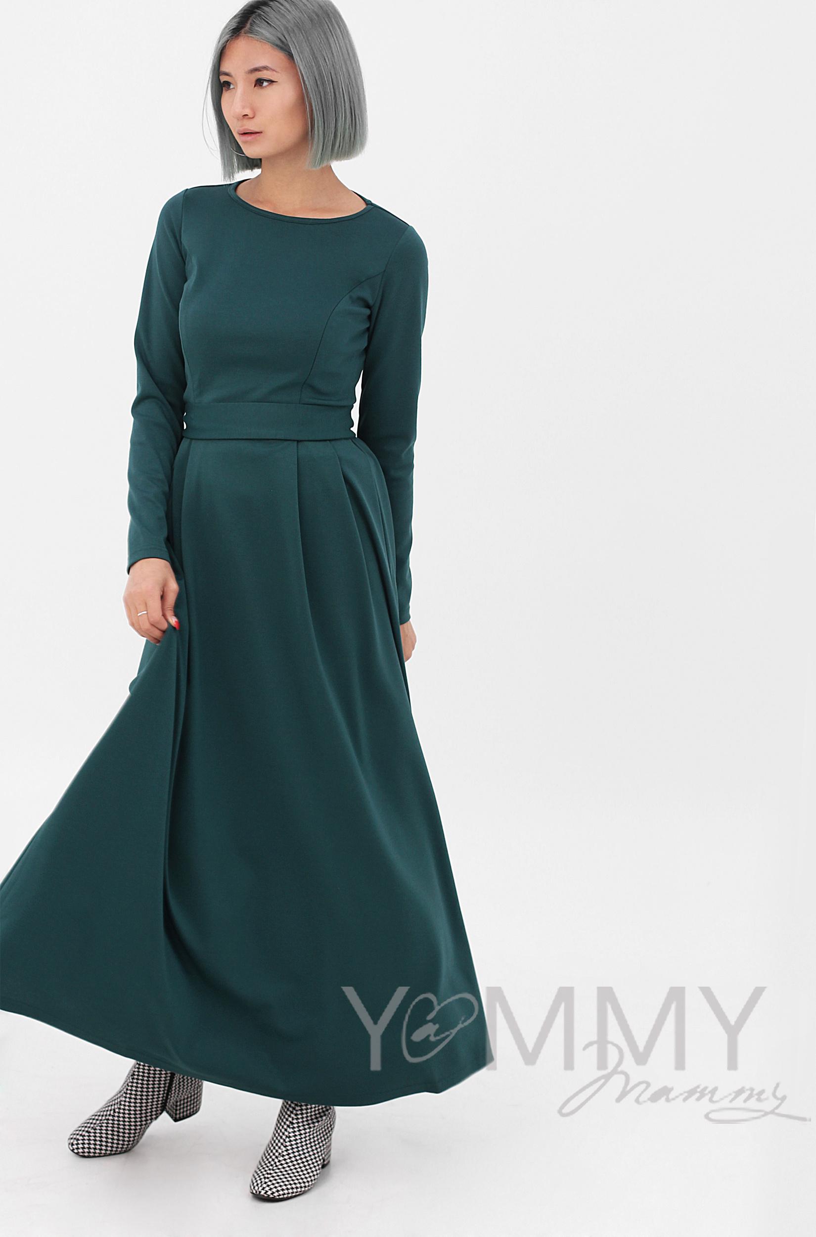 ee26e400025532e ... изумрудное Платье для кормящих и беременных в пол, юбка со складками,  ...