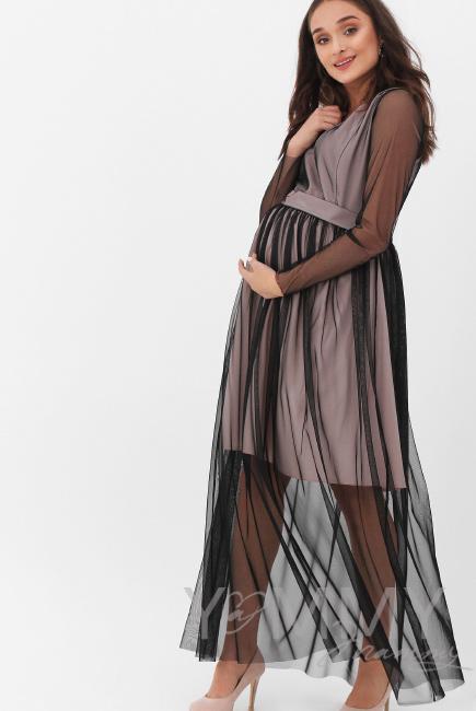 33022aa0b57fc75 Вечернее платье для кормящих и беременных с поясом, цвет розовый с черной  сеткой ...