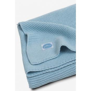 Вязаный плед для новорожденных Jollein Basic Knit, сине-голубой, средний