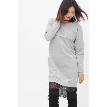 Платье для кормящих и беременных с кружевом, серый меланж
