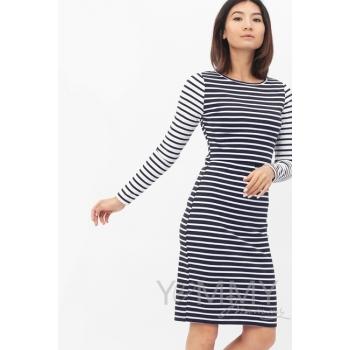 Платье для беременных и кормящих, в сине-белую полоску