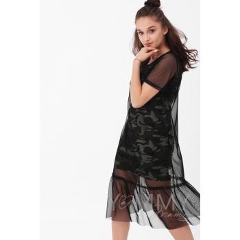 Платье-сетка для беременных и кормящих, цвет чёрный