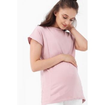Футболка для беременных и кормящих, розовая