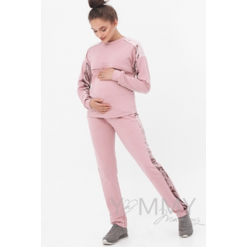Костюм для кормящих и беременных с отделкой из велюра, розовый