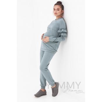 Костюм для кормящих и беременных, зеленый меланж