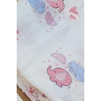 Муслиновая пеленка для новорожденных Diva большая, Elephant