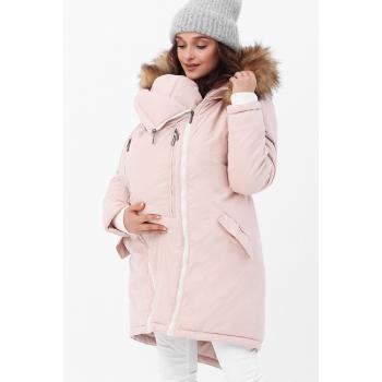 Слингокуртка зимняя - парка 3 в 1 с мехом, розовый