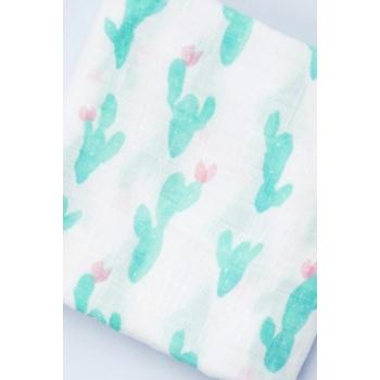 Муслиновая пеленка для новорожденных с бамбуком Diva большая, Green Cactus