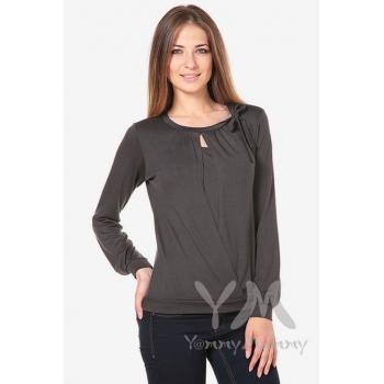 Блуза для беременных и кормящих с бантом, цвет графит