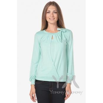 Блуза для беременных и кормящих с бантом, цвет ментол