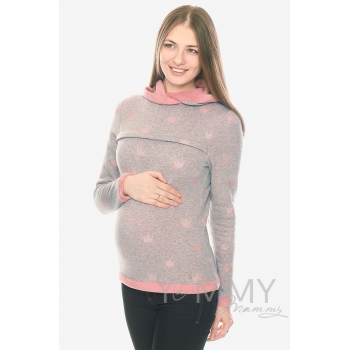 Толстовка для кормящих и беременных с капюшоном на меху, серый меланж с розовыми коронами