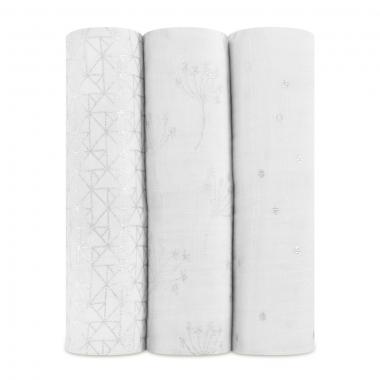 Муслиновые пеленки для новорожденных Aden&Anais мерцающие большие, набор 3, Metallic Silver Deco