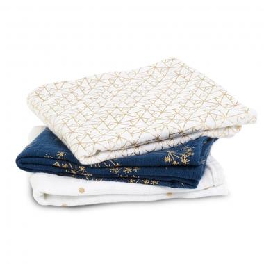 Муслиновые пеленки для новорожденных Aden&Anais мерцающие средние, набор 3, Metallic Gold Deco