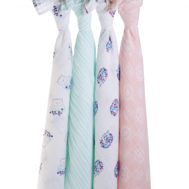 Муслиновые пеленки для новорожденных Aden&Anais большие, набор 4, Thistle