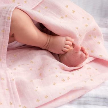 Муслиновые пеленки для новорожденных Aden&Anais мерцающие большие, набор 3, Metallic Primrose