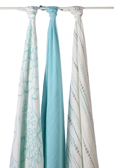Бамбуковые пеленки для новорожденных Aden&Anais большие, набор 3, Azure