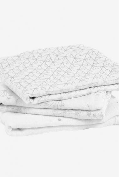 Муслиновые пеленки для новорожденных Aden&Anais мерцающие средние, набор 3, Metallic Silver Deco