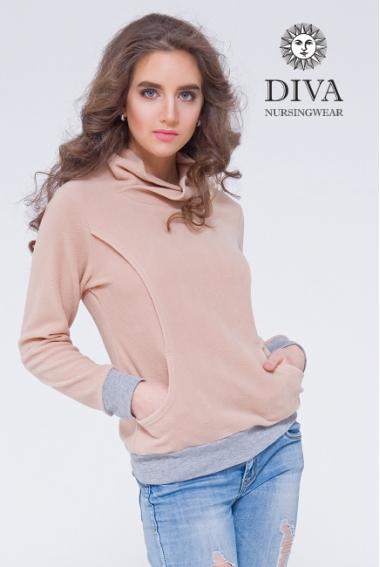 Толстовка для беременных и кормящих флисовая Diva Sabina, Grano