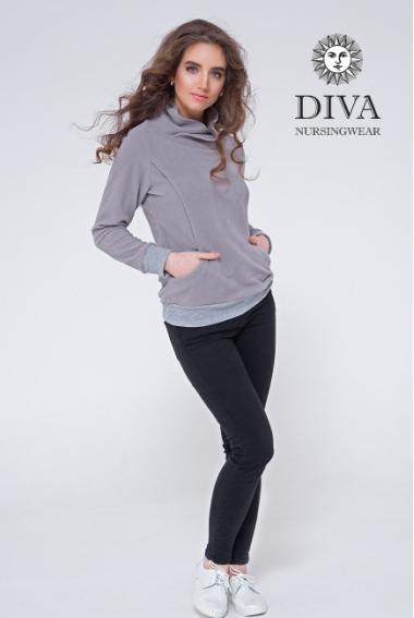 Толстовка для беременных и кормящих флисовая Diva Sabina, Nebbia