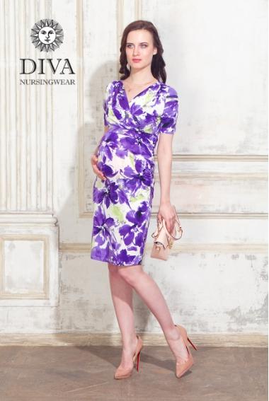Платье для кормящих и беременных Diva Nursingwear Lucia кор.рукав, принт Iris