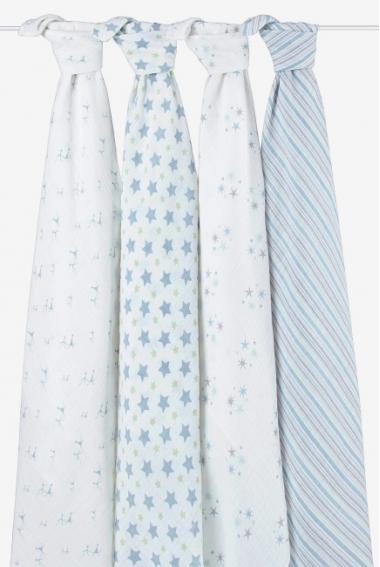 Муслиновые пеленки для новорожденных Aden&Anais, большие, набор 4 Prince Charming