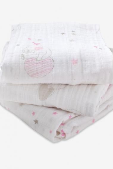 Муслиновые пеленки для новорожденных Aden&Anais средние, набор 3, Lovely