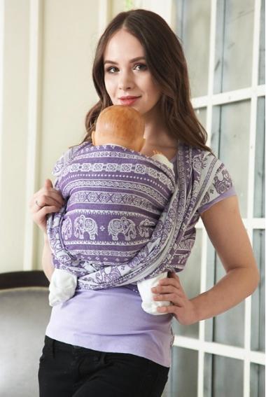 Слинг-шарф Слоны, фиолетовый