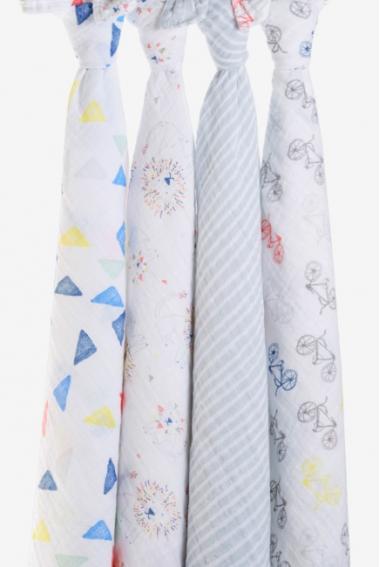 Муслиновые пеленки для новорожденных Aden&Anais большие, набор 4, Leader of the Pack