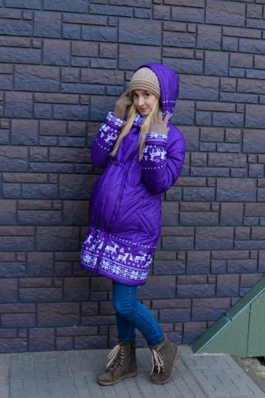 Зимняя слингокуртка Ingrid 3в1, олени фиолет