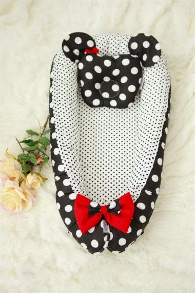 Гнездышко-кокон для новорожденных Babynest Minnie black dots