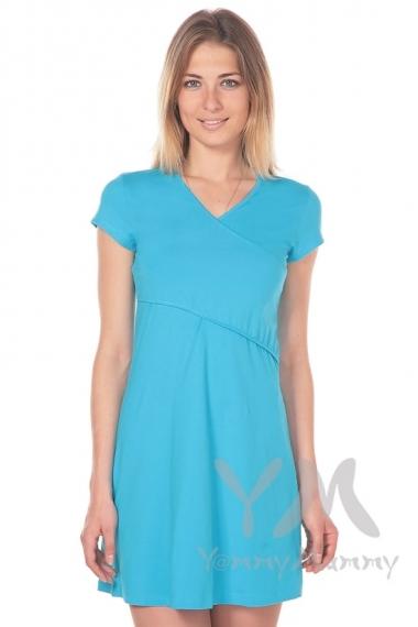 """Платье-кимоно для дома YammyMammy (ямми мамми) трикотажное, цвет """"бирюзовый"""""""