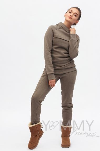 Костюм из худи и брюк коричневый меланж