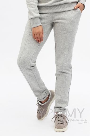 Костюм из худи и брюк серый меланж