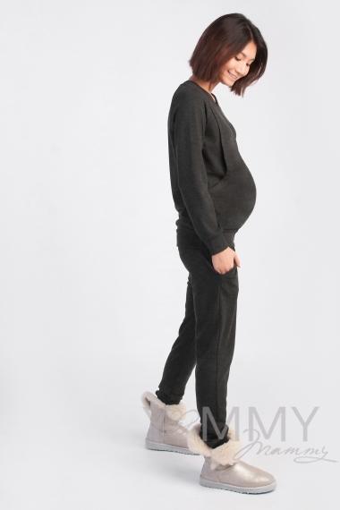Костюм из джемпера и брюк для кормящих и беременных, серый меланж