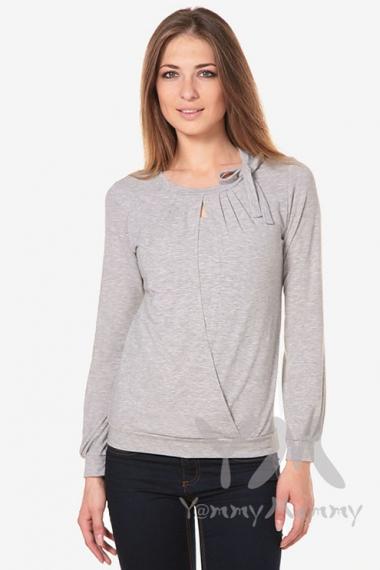 Блуза для беременных и кормящих с бантом, цвет светло-серый меланж