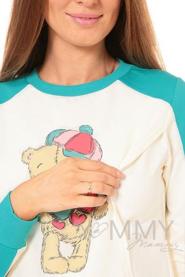 """Толстовка для кормящих и беременных  с принтом """"Teddy"""", цвет ментол/экрю"""