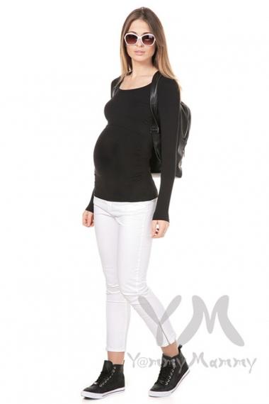 Лонгслив из модала для беременных и кормящих, черный