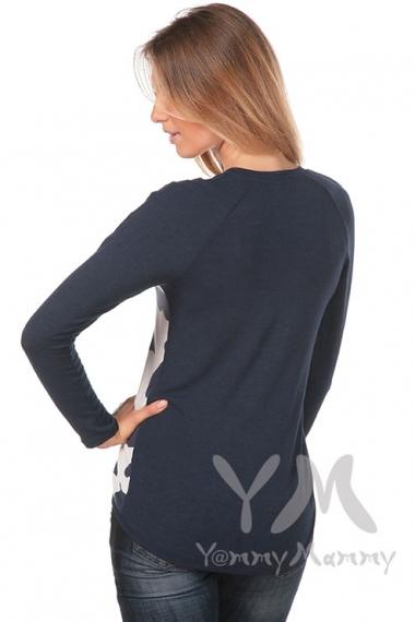 Джемпер с сердечками для беременных и кормящих, синий/белый