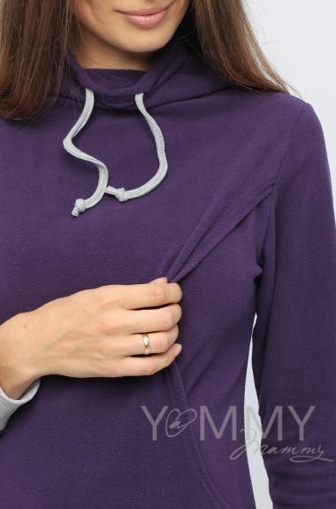 Толстовка для кормящих и беременных флисовая с завязками, цвет виноградная
