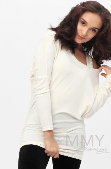 Блуза летучая мышь с топом для кормящих и беременных, цвет экрю