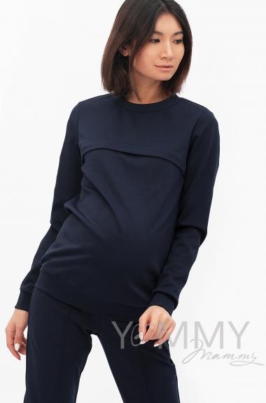 Костюм из плотной вискозы Костюм для кормящих и беременных из плотной вискозы, цвет темно-синий