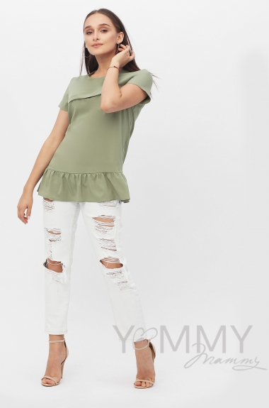Блуза для кормящих и беременных с воланом, цвет олива