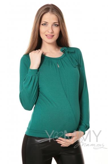 Блуза для беременных и кормящих с бантом, цвет изумруд