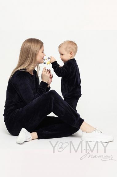 Костюм велюровый для кормящих и беременных хамелеон, темно-синий