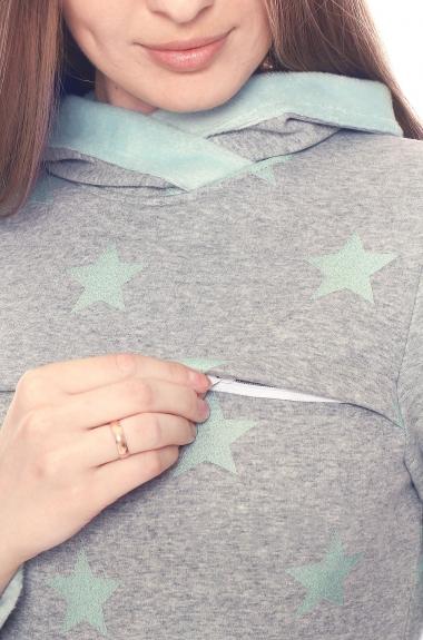 Толстовка с капюшоном на меху для кормящих и беременных, серый меланж