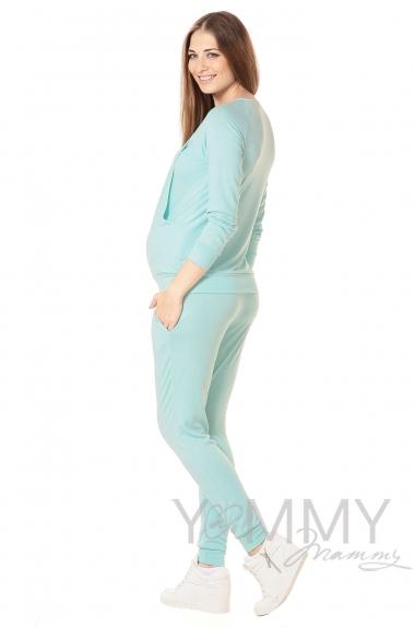 Костюм для кормящих и беременных из джемпера и брюк, ментол