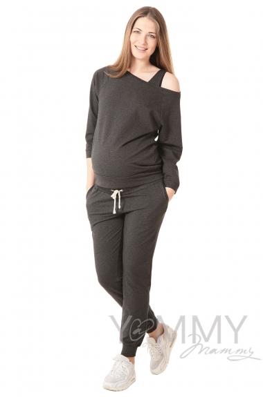 Джемпер для кормящих и беременных со спущенным плечом, темно-серый меланж
