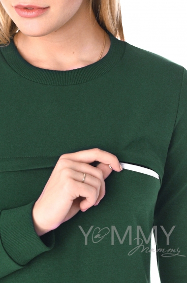 Свитшот для кормящих и беременных с секретом на молнии, малахит